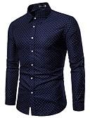 billige Eksotisk herreundertøy-Klassisk krage Skjorte Herre - Geometrisk, Trykt mønster Grunnleggende Navyblå / Langermet