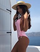 baratos Biquínis e Roupas de Banho Femininas-Mulheres Esportivo Básico Preto Rosa Amarelo Triângulo Cavado Maiô Roupa de Banho - Sólido Frente Única Cordões S M L Preto