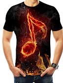 Χαμηλού Κόστους Ανδρικά μπλουζάκια και φανελάκια-Ανδρικά T-shirt Βασικό / Εξωγκωμένος 3D / Ουράνιο Τόξο / Γραφική Στρογγυλή Λαιμόκοψη Στάμπα Μαύρο / Κοντομάνικο