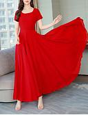 ราคาถูก ชุดเดรสพิมพ์ลาย-สำหรับผู้หญิง Street Chic สง่างาม สวิง แต่งตัว - รอยจีบ, สีพื้น ขนาดใหญ่