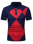 זול חולצות פולו לגברים-גיאומטרי צווארון חולצה Polo - בגדי ריקוד גברים שחור / שרוולים קצרים