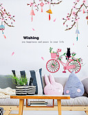 זול מגנים לאייפון-אופנה אפרסק אופניים חתול מדבקות קיר - מילים&אמפר ציטוטים קיר מדבקות תווים חדר לימוד / משרד / חדר אוכל / מטבח