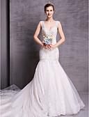 Χαμηλού Κόστους Νυφικά-Γραμμή Α Scoop Neck Μακριά ουρά Δαντέλα Κανονικοί ιμάντες Λάμψη & Στυλ / Sexy Φορέματα γάμου φτιαγμένα στο μέτρο με 2020