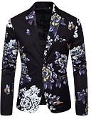 זול ז'קטים-לבן / שחור / ירוק כהה מעוטר גזרה רגילה פוליאסטר חליפה - פתוח Single Breasted One-button
