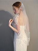 Χαμηλού Κόστους Πέπλα Γάμου-Μίας Βαθμίδας Στυλάτο Πέπλα Γάμου Πέπλα Δαχτύλων με Διακοσμητικά Επιράμματα / Αστραφτερό Γκλίτερ 35,43 ίντσες (90εκ) Δαντέλα / Τούλι / Οβάλ
