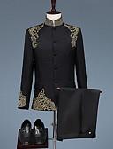 お買い得  スーツ-ブラック / ホワイト パターン柄 スタンダードフィット ポリエステル スーツ - マンダリンカラー シングルブレスト 多ボタン