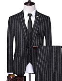 Χαμηλού Κόστους Αντρικά Μπλέιζερ & Κοστούμια-Ανδρικά Στολές, Ριγέ Κλασικό Πέτο Πολυεστέρας Μαύρο / Βαθυγάλαζο / Μπεζ