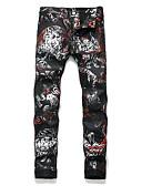 זול מכנסיים ושורטים לגברים-בגדי ריקוד גברים פאנק & גותיות סקיני צ'ינו מכנסיים - מעוטר כותנה קשת 34 36 38