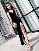 ราคาถูก Special Occasion Dresses-ทรัมเป็ต / เมอร์เมด Plunging Neckline ชายกระโปรงลากพื้น ซาตินยืด ทางการ แต่งตัว กับ ผ่าหน้า โดย LAN TING Express