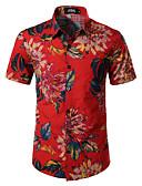 billige Herreskjorter-Bomull / Lin EU / USA størrelse Skjorte Herre - Blomstret Bohem Rød / Kortermet