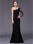 Χαμηλού Κόστους Βραδινά Φορέματα-Γραμμή Α Ένας Ώμος Μακρύ Δαντέλα / Σαρμέζ Κομψό / Εμπνευσμένο από Βίντατζ Επίσημο Βραδινό Φόρεμα 2020 με Εισαγωγή δαντέλας