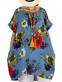 שמלות נשים-עד הברך דפוס, פרחוני קולור בלוק - שמלה טוניקה בסיסי סגנון רחוב בגדי ריקוד נשים