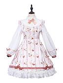 povoljno Lolita moda-Patterned Princess Lolita Slatka Style Baršunasti šifon Sve Haljine Cosplay Pink Biskup Dugih rukava Do koljena Srednja dužina Kostimi