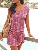 billige Uformelle kjoler-Dame Gatemote Skiftet Kjole - Geometrisk, Lapper Trykt mønster Snorer Ovenfor knéet