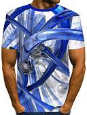 ราคาถูก เสื้อยืดและเสื้อกล้ามผู้ชาย-สำหรับผู้ชาย ขนาดของยุโรป / อเมริกา เสื้อเชิร์ต Street Chic / ที่พูดเกินจริง คลับ ลายพิมพ์ คอกลม ลายบล็อคสี / 3D / กราฟฟิค ขาว / แขนสั้น