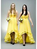 ราคาถูก ชุดเพื่อนเจ้าสาว-A-line คอสวีทฮาร์ท ไม่เท่ากัน ชิฟฟอน เพื่อนเจ้าสาวชุด กับ ของประดับด้วยลูกปัด / กระโปรงระบาย โดย JUDY&JULIA