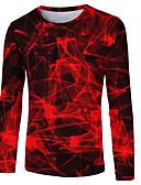 זול חולצות פולו לגברים-3D / מופשט צווארון עגול בסיסי / סגנון רחוב טישרט - בגדי ריקוד גברים דפוס אודם / שרוול ארוך