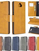 baratos Cases & Capas-Capinha Para Sony Sony Xperia L3 / Sony Xperia 10 / Sony Xperia 10 Plus Carteira / Antichoque / Com Suporte Capa Proteção Completa Sólido Rígida PU Leather