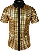 billiga T-shirts och brottarlinnen till herrar-Enfärgad / Geometrisk EU / US-storlek Bomull Skjorta - Rock / Punk & Gotiskt Herr Guld / Kortärmad