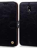 billige Samsung-tilbehør-Etui Til Samsung Galaxy J5 (2017) Kortholder / Flipp Heldekkende etui Ensfarget Hard PU Leather
