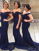 ราคาถูก Special Occasion Dresses-ทรัมเป็ต / เมอร์เมด ไหล่ตก ชายกระโปรงคอร์ท เจอร์ซี่ เพื่อนเจ้าสาวชุด กับ เข็มกลัด / ริบบิ้น โดย JUDY&JULIA