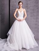 ราคาถูก ชุดแต่งงาน-A-line คอวี ชายกระโปรงคอร์ท ลูกไม้ / Tulle ชุดแต่งงานที่ทำขึ้นเพื่อวัด กับ ของประดับด้วยลูกปัด โดย LAN TING BRIDE®