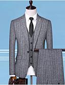 Χαμηλού Κόστους Αντρικά Μπλέιζερ & Κοστούμια-Ανδρικά Στολές, Ριγέ Κολάρο Πουκαμίσου Πολυεστέρας Λευκό / Μαύρο / Γκρίζο / Λεπτό