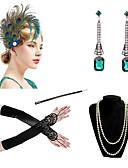 povoljno Stare svjetske nošnje-Čarlston Vintage 1920s Gatsby Setovi dodataka za kostime Rukavice Traka za kosu u stilu 20-ih Žene Kostim Ogrlica Naušnica Mornarsko plava / Red+Black / Duga Vintage Cosplay Festival