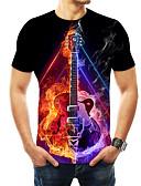 billige T-skjorter og singleter til herrer-Rund hals T-skjorte Herre - Geometrisk / 3D / Grafisk, Trykt mønster Grunnleggende / overdrevet Svart / Kortermet