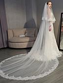 Χαμηλού Κόστους Πέπλα Γάμου-Δύο-βαθμίδων Κομψό & Πολυτελές / Ευρωπαϊκό Στυλ Πέπλα Γάμου Πολύ Μακριά Πέπλα με Διακοσμητικά Επιράμματα 118,11 ίντσες (300εκ) Δαντέλα / Τούλι / Οβάλ