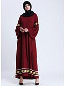 זול שמלות מקסי-לבוש מסורתי ותרבותי Abaya בגדי ריקוד נשים לבוש יומיומי כותנה ריקמה / סרט חגורה / עבאיה