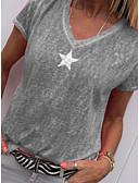 ราคาถูก เสื้อเชิ้ตสำหรับสุภาพสตรี-สำหรับผู้หญิง ขนาดพิเศษ เชิร์ต คอวี หลวม สีพื้น / กราฟฟิค สีเทา