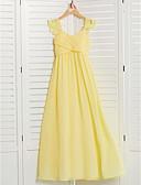 ราคาถูก Special Occasion Dresses-A-line คอสี่เหลี่ยม ลากพื้น ชิฟฟอน จูเนียร์ชุดเพื่อนเจ้าสาว กับ กระโปรงระบาย / จับย่น โดย LAN TING BRIDE®