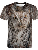 billige T-skjorter og singleter til herrer-Rund hals Store størrelser T-skjorte Herre - 3D / Dyr, Trykt mønster Grunnleggende Lyseblå / Kortermet