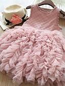 זול שמלות לילדות פרחים-גזרת A באורך  הברך שמלה לנערת הפרחים  - טול ללא שרוולים עם תכשיטים עם שכבות / מוצק על ידי LAN TING Express