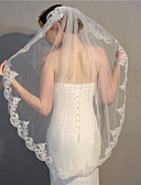 Χαμηλού Κόστους Πέπλα Γάμου-Μίας Βαθμίδας Κλασσικό στυλ / Άκρη με Απλίκα Δαντέλας Πέπλα Γάμου Πέπλα Δαχτύλων με Διακοσμητικά Επιράμματα 39,37 ίντσες (100εκ) Δαντέλα / Τούλι / Οβάλ