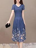 povoljno Print Dresses-Žene Ulični šik Sofisticirano Swing kroj Haljina - Drapirano Mrežica Kolaž, Jednobojni Cvjetni print Midi
