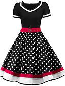 Χαμηλού Κόστους Βίντατζ Βασίλισσα-Γυναικεία Κομψό στυλ street Swing Φόρεμα - Πουά, Στάμπα Ως το Γόνατο Λαιμόκοψη V