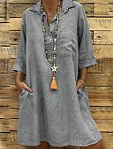 שמלות נשים-מעל הברך אחיד - שמלה שיפון וינטאג' בוהו בגדי ריקוד נשים