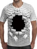 Χαμηλού Κόστους Γυναικεία περιτύλιγμα & κασκόλ-Ανδρικά Μέγεθος EU / US T-shirt Βασικό 3D Στρογγυλή Λαιμόκοψη Μαύρο / Κοντομάνικο