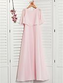 Χαμηλού Κόστους Φορέματα για παρανυφάκια-Γραμμή Α Με Κόσμημα Μάξι Σιφόν Φόρεμα Νεαρών Παρανύμφων με Βολάν