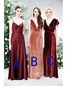 Χαμηλού Κόστους Φορέματα Παρανύμφων-Γραμμή Α Λεπτές Τιράντες / Βυθίζοντας το λαιμό Μακρύ Σατέν / Βελούδο Φόρεμα Παρανύμφων με Πλισέ