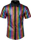 baratos Camisas Masculinas-Homens Tamanho Europeu / Americano Camisa Social Rock / Punk & Góticas Sólido / Geométrica Algodão Arco-íris / Manga Curta