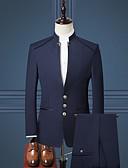 preiswerte Anzüge-Smoking Weite Passform Mandarine Einreiher - 3 Knöpfe Polyester / Baumwollmischung / Polyster Solide