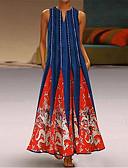 זול שמלות מקסי-צווארון V מקסי שמלה טוניקה בגדי ריקוד נשים