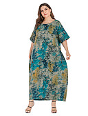 זול שמלות במידות גדולות-מקסי גיאומטרי פתית שלג - שמלה ישרה בגדי ריקוד נשים