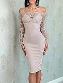 זול שמלות שושבינה-מעטפת \ עמוד סירה מתחת לכתפיים באורך  הברך ג'רסי שמלה לשושבינה  עם תחרה על ידי LAN TING Express
