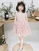 זול שמלות לילדות פרחים-גזרת A באורך  הברך שמלה לנערת הפרחים  - טול ללא שרוולים עם תכשיטים עם מוצק על ידי LAN TING Express