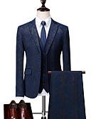 povoljno Kompletići za dječake-Muškarci Veći konfekcijski brojevi odijela, Geometrijski oblici Kragna košulje Poliester Plava / Crn / Slim