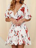 baratos Mini Vestidos-Mulheres Sofisticado Algodão Evasê Vestido - Estampado, Floral Decote em V Profundo Acima do Joelho